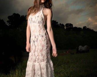 LaLove Designs Sheer Wite Floral Embellished Full Length Stretch Halter Dress Size Medium / Large