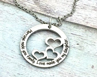 Marriage Made You Family. Love Made You My Daughter Premium Heart Washer Pendant, wedding, bride, married, daughter in law gift, motherinlaw