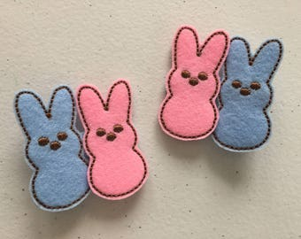 Pair of Easter Bunnies Feltie Hair Clips Pink and Blue Embroidery
