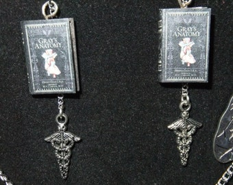 Gray's Anatomy Book Earrings - Great Gift for Book Lovers!