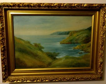 Antique Oil on Board Painting Landscape Painting of Shoreline Artist Signed - Painted on Academy Board