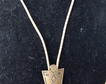 Vintage Native American Solid Copper Eagle Bolo Tie
