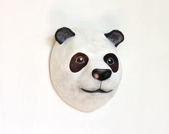 Paper mache Panda, Faux Taxidermy interior wall decoration - Macheanimal