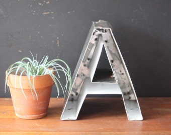 Neon Channel Sign Letter Upper Case 'A' / Reclaimed Industrial Salvage Marquee, Vintage Letter A
