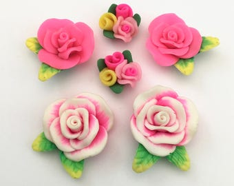 6 Polymer clay cabochon flowers ,19mm to 30mm,#FL 120