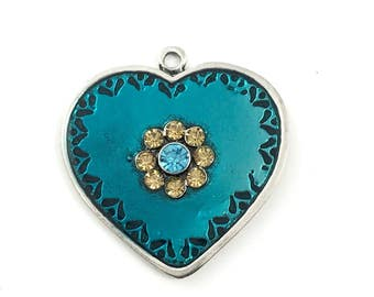 1 heart pendant enamel and silver  tone ,43mm# CH 134