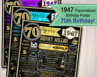 Customized 70th Birthday Chalkboard Poster, Cheers to 70 Years, 70th Birthday Art, 70th Party Decorations, 1947 Birthday Poster DIGITAL FILE