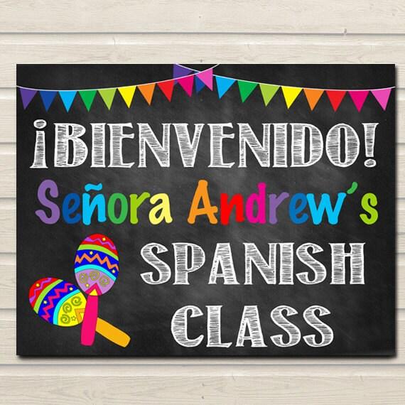 Spanish Teacher Classroom Decorations ~ Spanish teacher classroom door sign bienvenido printable