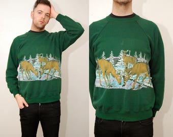 vintage DEER SWEATER (XL) sweatshirt 90s nature forest doe elk reindeer animal print dark green crewneck top jumper snow hipster indie geek