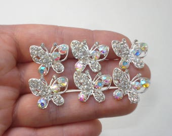 4 Silver Bridal Hair Pins - Butterfly Bobby Pin Jewellery - Wedding Bride Hair Accessories