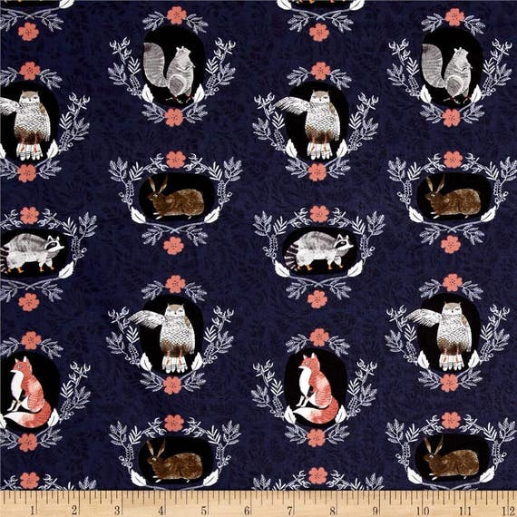 Woodland fabric by the yard cotton quilting nursery for Childrens cotton fabric by the yard