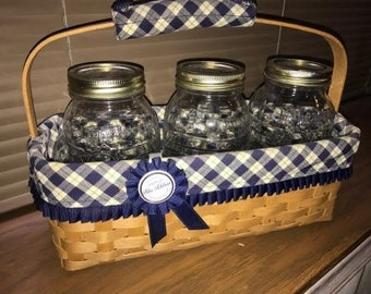 Longaberger Blue Ribbon Canning Jar Basket including the 3 Canning jars