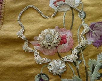 Vintage 30's  40's Celluloid Floral Necklace and Pin Set with Rhinestones