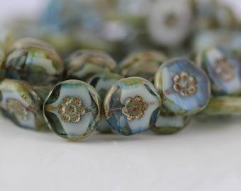 15mm Hawaii Flowers Table Cut Czech Glass Beads - Blue Picasso 6 Pcs.