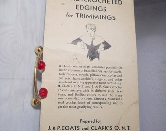 1933 Coats and Clark's Leaflet on Hand Crocheted Edgings for Trimmings