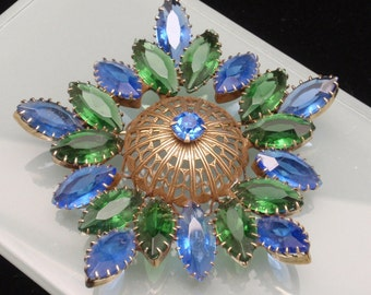 Blue and Green Rhinestones Brooch Pin Vintage
