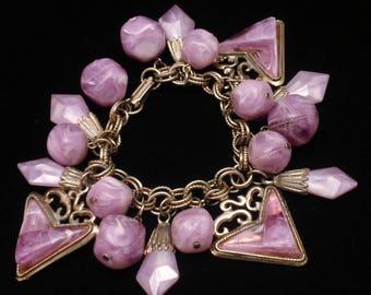 1940s Baubles Charm Bracelet Lavender