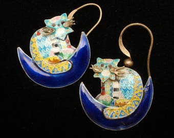 Cat Earrings Wires Cloisonne Enamel