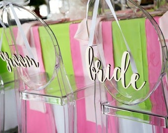 Bride and Groom Wood Letters - Chair Signs