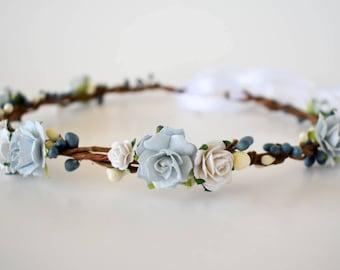 Blue flower crown. Light blue and white floral crown. Wedding crown in powder blue and white. Bridal headpiece. Bridesmaids. Flowergirls.