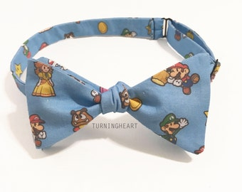 Super Mario inspired adjustable freestyle/self tie Bow Tie, Nintendo, Game, for him, birthday present, gift for men, women