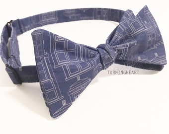 Doctor Who Police Box Tardis Blueprint Inspired Freestyle/Self tie Bow tie, men, women, accessories, gift, Nerdy, time Lord, comic con