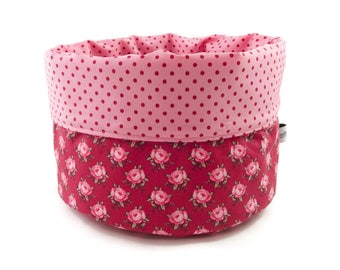 Fabric basket rose points pink red - bread basket accessories