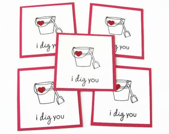 Kids Valentine's Day Card, Bucket Cards, Classroom Valentine's Day Cards, Kids Classroom Cards, Valentines Day Cards, Mini I Dig You Cards