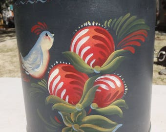 Floral, Berries and Fluffly Gray Birdy Tole Painted Tin with Lid, Pfaltzgraff Tin
