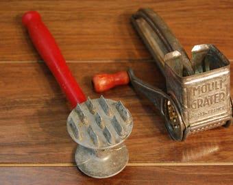 Vintage 1940's Kitchen tools, farmhouse vintage meat tenderizer,grater, vintage red handles, vintage kitchen decor,