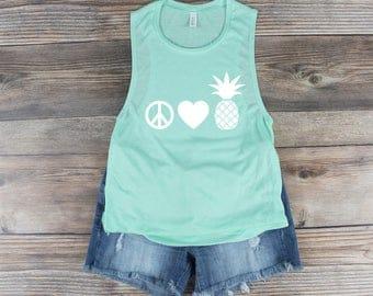 Pineapple Tank / Pineapple Shirt / Be a Pineapple Shirt / Spring Breaker Shirt /Women's workout Tank/ Muscle tee/ Muscle Tank/ Beach Shirt