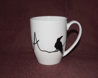 Raven Mug Hand Painted Valentine's Day monogram gift crow corvid Edgar Allan Poe mug personalized gift for her gift for him