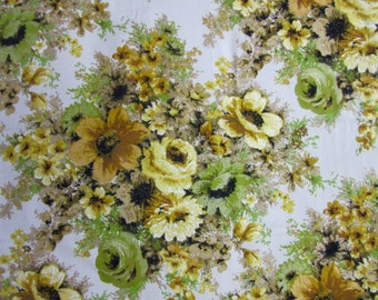 """fabric / cotton canvas/ yellow green floral / 56"""" x 50"""" / Hero IC Design"""