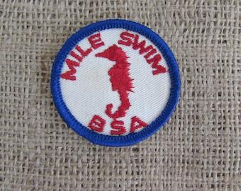 Boy Scouts Swim Patch, Vintage Boy Scouts of American Swim Patch, Boy Scouts Memorabilia, Boy Scout Patches, Memorabilia,Seahorse Swim Patch