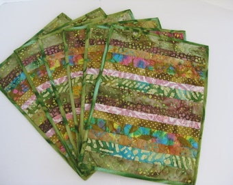 Quilted Placemats, Green Batik Placemats, Handmade  Placemats