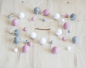 White Pale Pink Grey Garland with 10mm & 23mm Felt Balls | BLUSHING BABE | Baby Shower Gift | Modern Girl Nursery | Pink Grey Party Decor