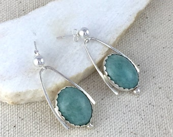 Turquoise Amazonite Stone Earrings in Handmade Sterling Silver Settings on Sterling Silver Ear Posts