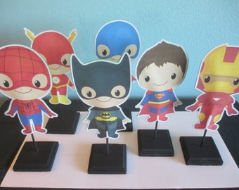 Superhero Centerpieces(6)Superhero baby centerpieces,superhero party favor,superhero birthday,batman birthday,superhero boys,superman party