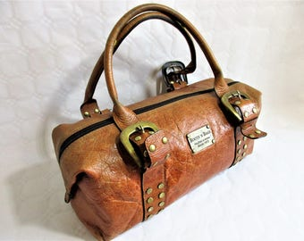 vintage light copper brown leather large hand / shoulder bag