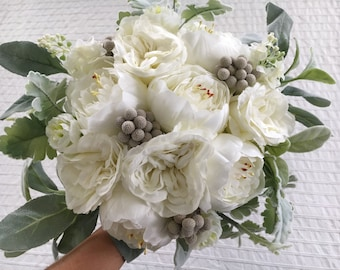 Stunning Wedding luxury artificial realistic x1 Brides Bouquet with soft ivory peonies & ranunculus grey brunia berries with light greenery