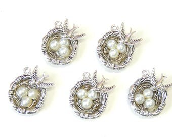 2pc 5pc Bird Nest Charms Silver Tone, Bird Nest Pendants, Bird Charms, Swallow Bird, Nest Charms, Jewelry Making Supply Charms.