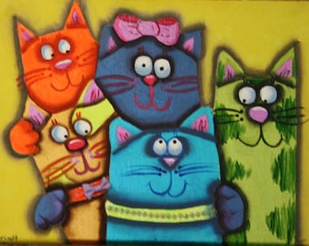 Original Cat Painting. 5 Cats Friends getting ready to party!