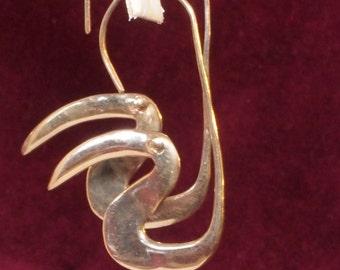 Unique Artisan Gold Color Copper Pierced Earrings
