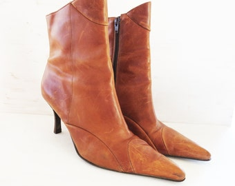 """Vintage Leather Ankle Boots Distressed Leather Size 8 Made in Brazil  3 1/4"""" stiletto heel pointed toe"""