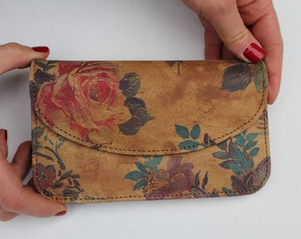German Wallet Floral 14 Leather