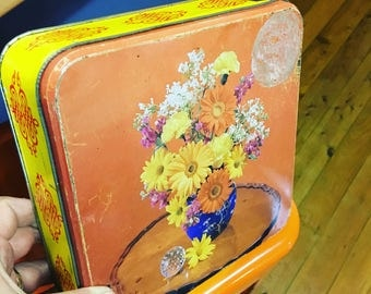 vintage retro orange yellow floral square tin