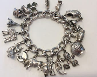 Vintage Sterling and 800 silver large European travel charm bracelet