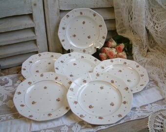 Set of 6 French vintage ironstone plates with tiny roses and gold trim. French country. French shabby chic tea plates. Cottage decor. Roses