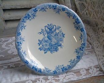 Antique english blue transferware cake stand. Blue transferware compote dish. Bates, Walker & Co. Shabby cottage chic. Romantic home decor