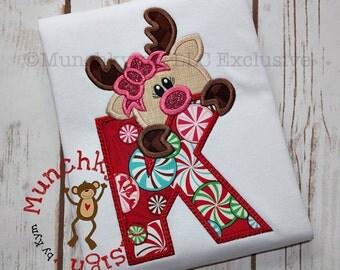 Reindeer Girl Alpha Applique